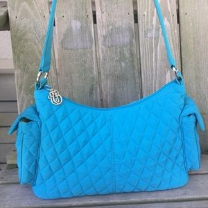 Vera Bradley quilted shoulder purse blue green bag